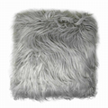 PALE GREY SOFT MONGOLIAN FUR EFFECT SUEDE LOOK BACK CUSHION COVER £5.95 EACH